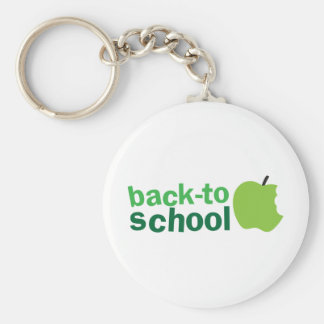 back to school with green apple key chain