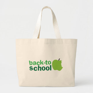 back to school with green apple large tote bag