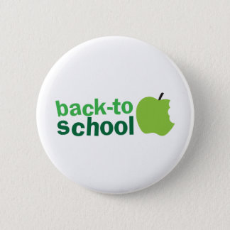 back to school with green apple pinback button