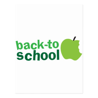 back to school with green apple postcard