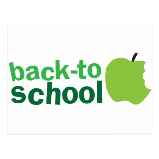 back to school with green apple postcards