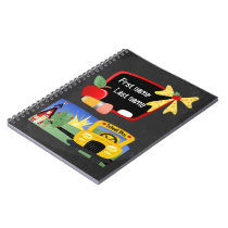 Back To School Yellow Bus Chalkboard Personalized Notebook