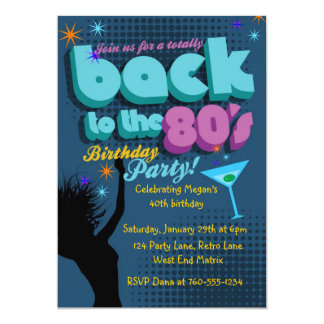 Back to the 80's Birthday Party invitation