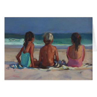 'Back to the Beach' - children enjoying the beach Card