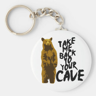 back to the cave basic round button keychain
