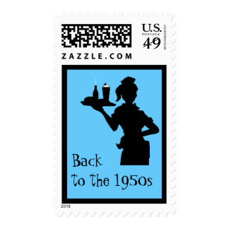 Back to the Fifties Car Hop Postage (med.)(blue)