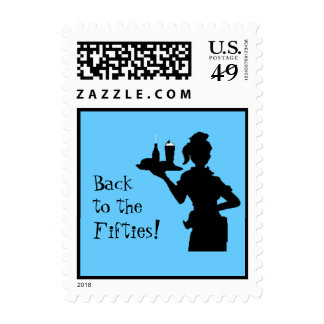 Back to the Fifties Car Hop Postage (small) (blue)