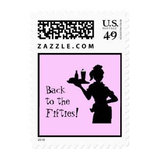 Back to the Fifties Car Hop Postage (small) (pink)