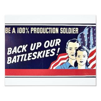 "Back Up Our Battleskies 4.25"" X 5.5"" Invitation Card"