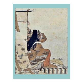 Back view of a noblewoman by Hosoda, Eishi Ukiyoe Postcards