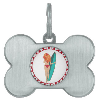 Back View of a Surfer Girl Pet Tag