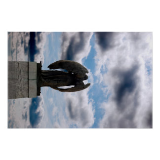 back view of angel statue in cobh poster
