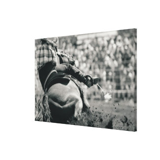 Back view of barreling racing canvas print
