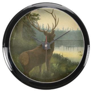 Back view of Elk Looking over a Lake Aquarium Clocks