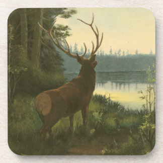 Back view of Elk Looking over a Lake Beverage Coaster