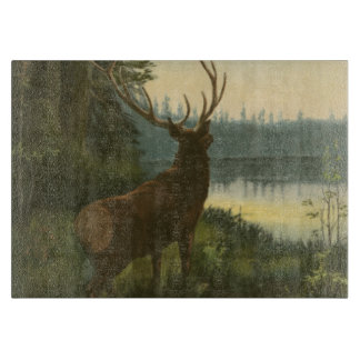 Back view of Elk Looking over a Lake Cutting Board