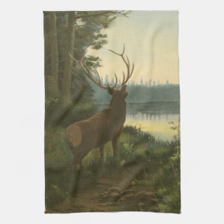 Back view of Elk Looking over a Lake Kitchen Towel