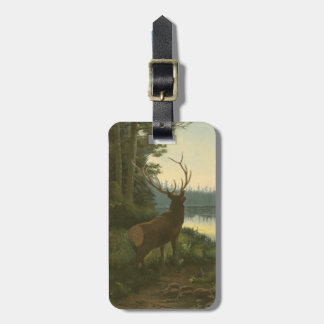 Back view of Elk Looking over a Lake Travel Bag Tag