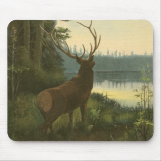 Back view of Elk Looking over a Lake Mouse Pad