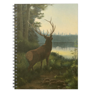 Back view of Elk Looking over a Lake Spiral Notebook
