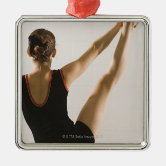 Back view of flexible gymnast metal ornament