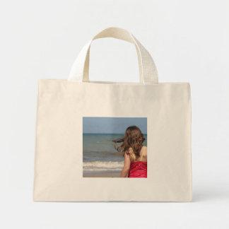 Back view of toddler at a Florida beach Tote Bag