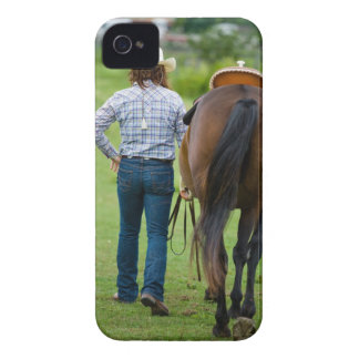 Back view of woman leading her horse Case-Mate iPhone 4 case