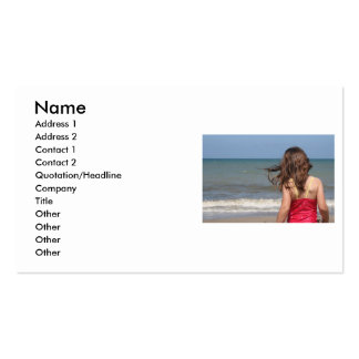 Back view of young girl at a Florida beach Business Card Template