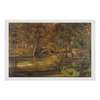 Back Water of the Bratford, 1864 (w/c and pencil o Poster