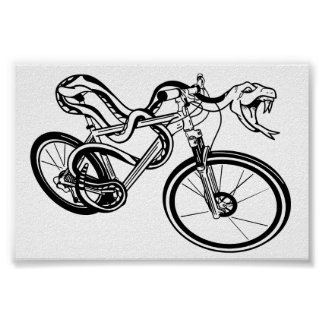 Back White and Mountain Biking Snake Poster