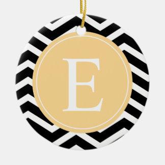 Back White Chevron Yellow Monogram Ceramic Ornament