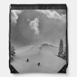 Backcountry Ski Climbers in fresh powder Drawstring Bag