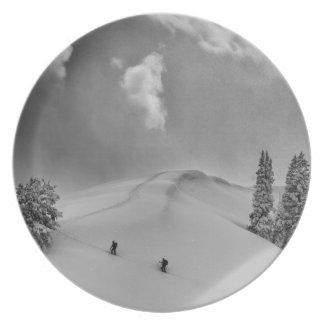 Backcountry Ski Climbers in fresh powder Melamine Plate