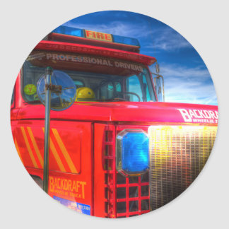 Backdraft Fire Truck Classic Round Sticker