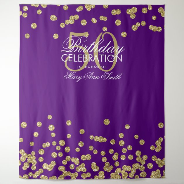 backdrop 50th birthday gold purple confetti
