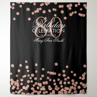 Backdrop 50th Birthday Rose Gold Black Confetti