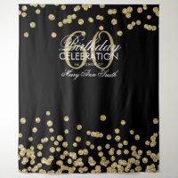 Backdrop 60th Birthday Gold Black Confetti
