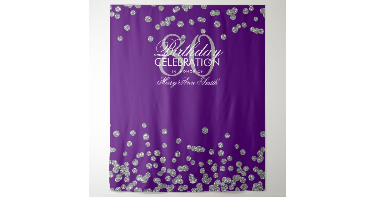 Backdrop 80th Birthday Silver Purple Confetti Zazzle Com