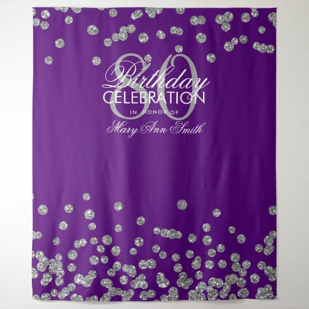 backdrop 80th birthday silver purple confetti