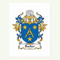 Backer Family Crest Postcard