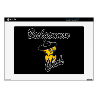 """Backgammon Chick #4 15"""" Laptop Decal"""