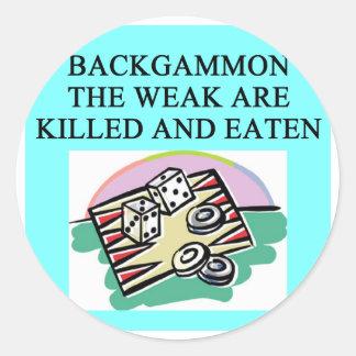 BACKGAMMON CLASSIC ROUND STICKER
