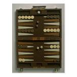 Backgammon game board post cards
