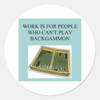 backgammon game classic round sticker