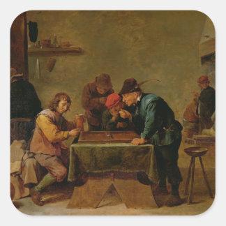 Backgammon Players, c.1640-45 Square Sticker