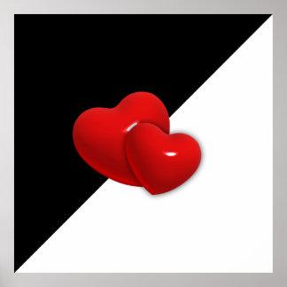 backgr rojo de los corazones del triángulo blanco póster