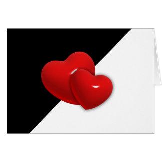 backgr rojo de los corazones del triángulo blanco tarjeta de felicitación