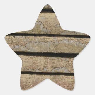 backgrond de madera pegatina en forma de estrella