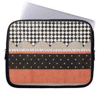 background01 BLACK WHITE ORANGE COLORS SCRAPBOOKIN Laptop Sleeve