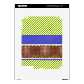 background24 GREEN WHITE BURGUNDY BLUE STRIPES DEC iPad 3 Decals